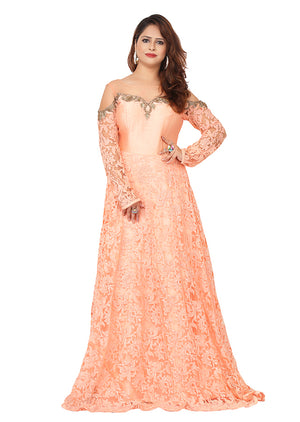 Peach evening gown featured in a variety of nets