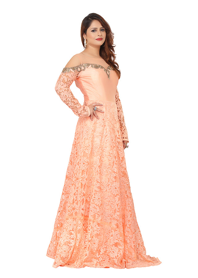 Peach evening gown featured in a variety of nets - Sohni Sajri