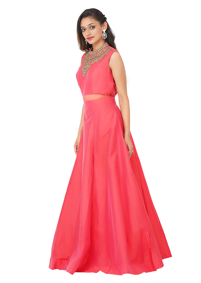 Dark pink Indo-western style gown featured in raw silk