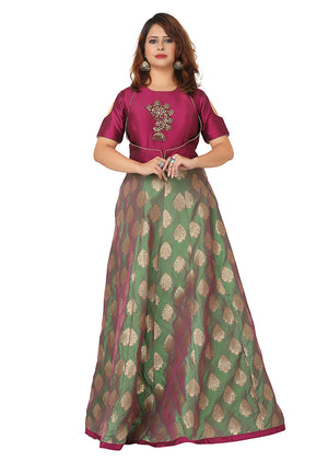 Wine and Green Anarkali Featured in Brocade and Silk