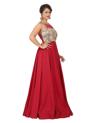 Maroon Gown featured in brocade and net