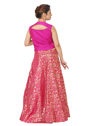 Magenta and gold Lehenga featured in silk and brocade