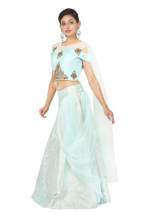 Light Blue and Silver Brocade Silk Lehenga