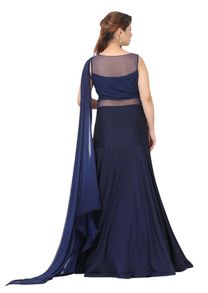 Navy blue drape style gown featured in lycra and net