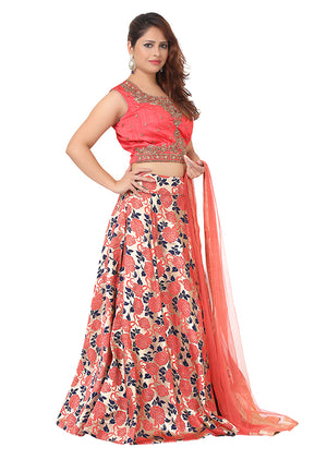 Pink and Blue Lehenga with embellished with beads, tassels and Raw Silk