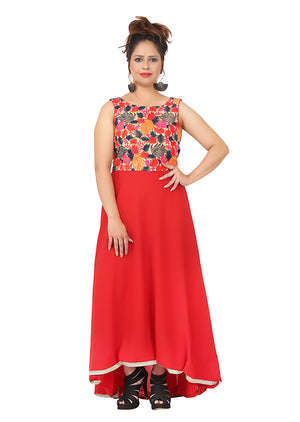 Red and peach Kurti featured in georgette