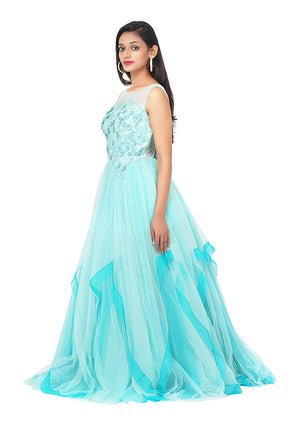 Sea green and Blue indo-western style gown featured in silk and net
