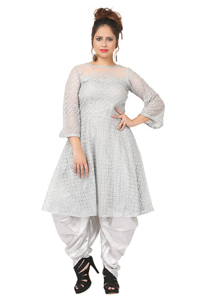 Silver and grey salwar kameez featured in satin and net