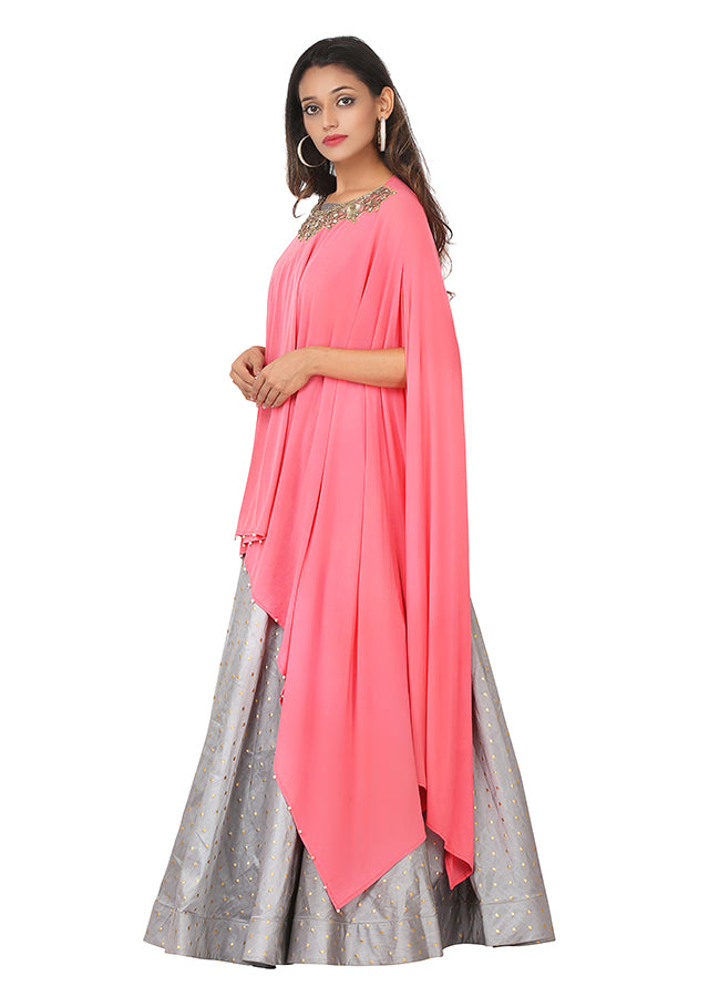 Pink and grey drape style gown featured in Silk