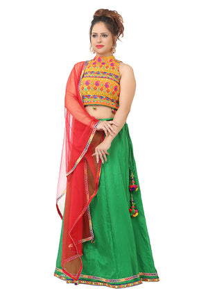Yellow and Green chiffon Lehenga featured in Gujarati work also with a Red net dupatta