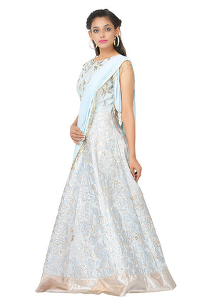 Light blue and grey drape style gown featured in raw silk and crepe