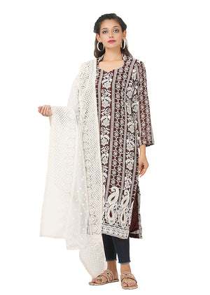 White and brown kurti featured in georgette