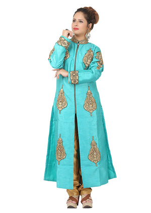 Turquoise and gold palazzo suit featured in raw silk
