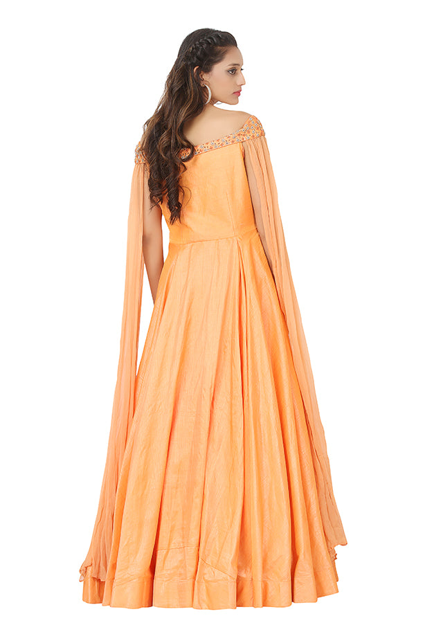 Peach evening style gown featured in raw silk and chiffon - Sohni Sajri