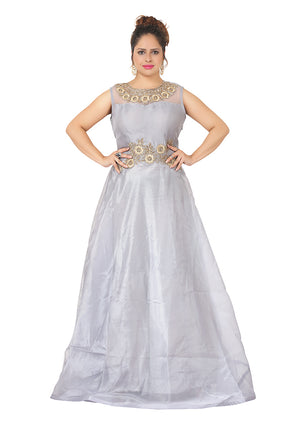 Grey evening gown featured with exclusive stone work