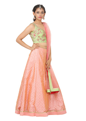 Light Green and Pink Lehenga Featured in Silk with Net Dupatta