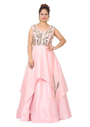 Baby Pink Gown with heavy golden piping featured in Silk