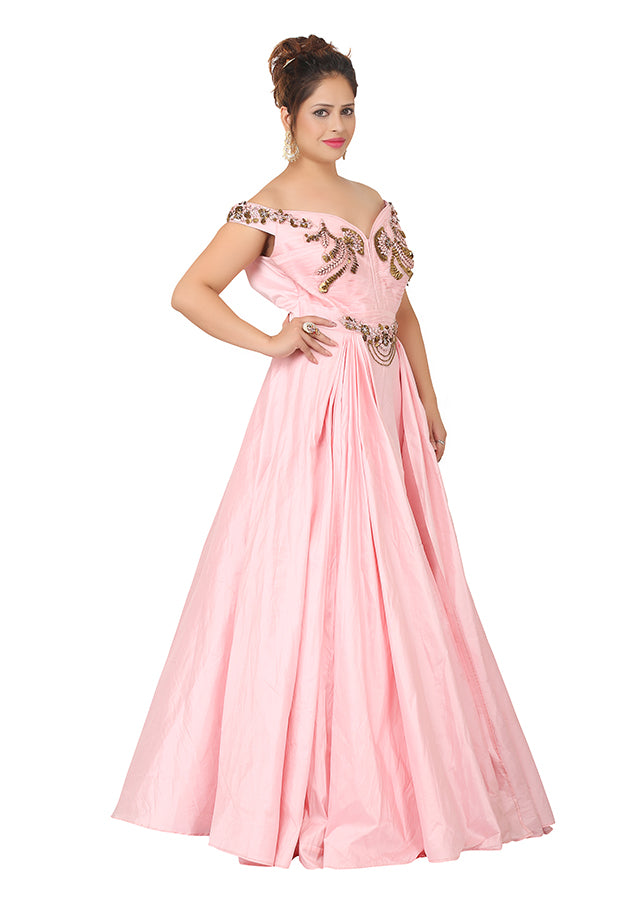 Baby pink evening gown featured in silk - Sohni Sajri