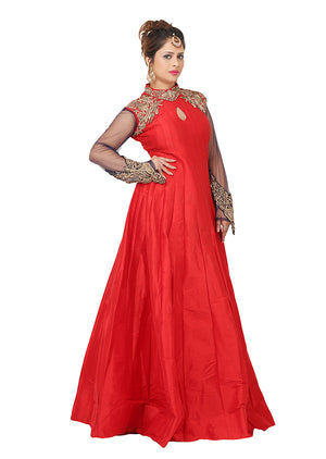 Navy blue and red gown featured in raw silk and chiffon