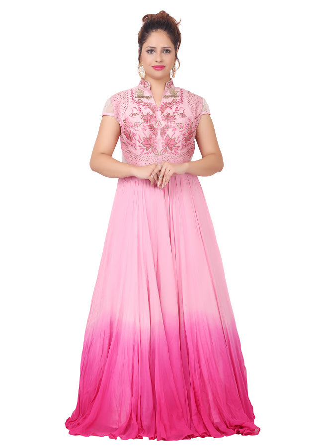 Evening style gown featured in different shades of pink chiffon ...
