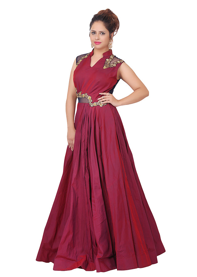 Pink Indo-western style gown featured in taffeta