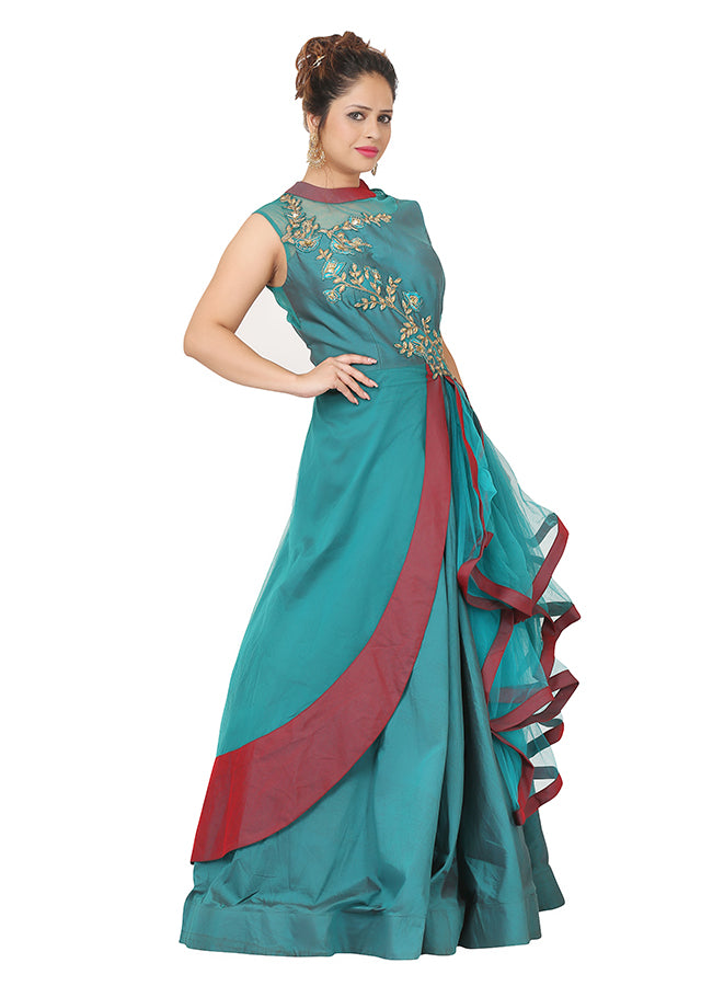 Bottle green and maroon indo-western style gown featured in cotton silk and net