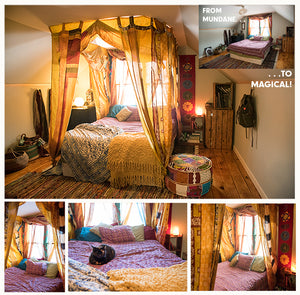 CREATE YOUR OWN BOHO CANOPY BED IN LESS THAN AN HOUR W/ RECYCLED SILK CURTAINS
