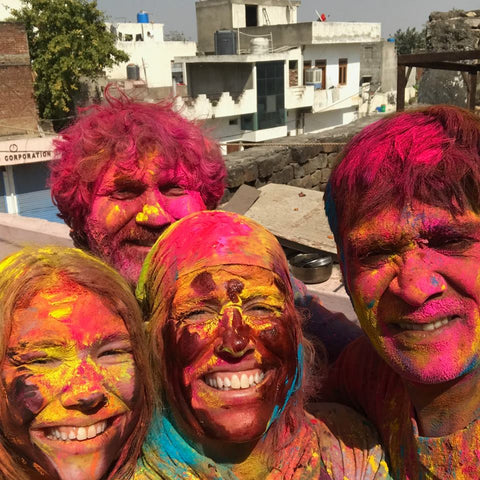 Carly, Pete, Kim, and Anil after much colorful fun!