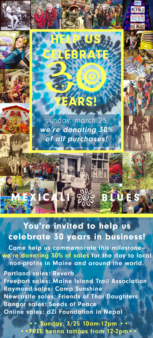 Help us celebrate 30 years in business! On Sunday, March 25, 2018 we will be donating 30% off all sales to local non profits! Free henna tattoos from 12-2pm!
