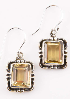 Faceted Caja Earrings - Mexicali Blues