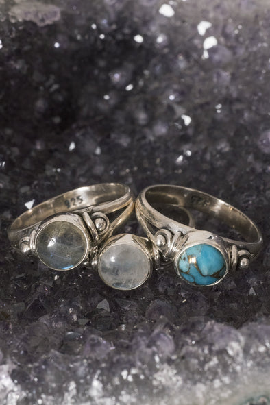Small Round Set Gemstone Ring