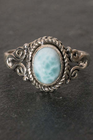 Oval Set Scroll Gemstone Ring - Mexicali Blues
