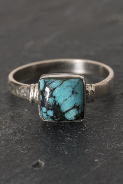 Square Set Gemstone Ring