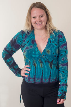 Tie Dye Yogi Wrap Top - Mexicali Blues