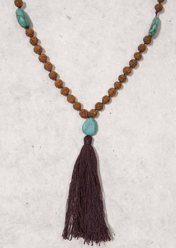 Rudraksha & Gem Mala Necklace
