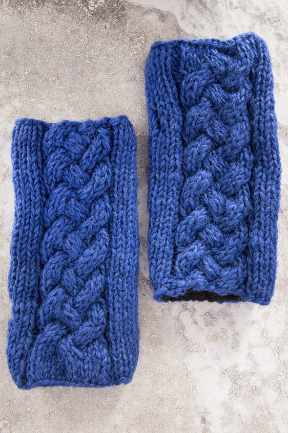 Cable Knit Fleece Lined Wool Fingerless Mittens - Mexicali Blues