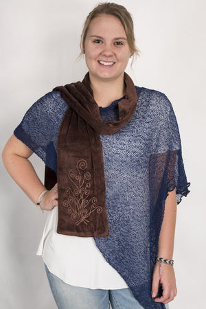 Kamal Embroidered Scarf - Mexicali Blues
