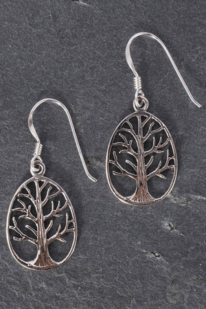 Tree Of Life Oval Sterling Silver Earrings