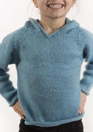 Kids' Hooded Alpaca Sweater - Mexicali Blues