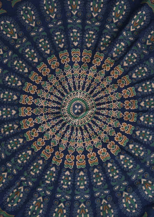 Round Mandala Beach Tapestry - Mexicali Blues
