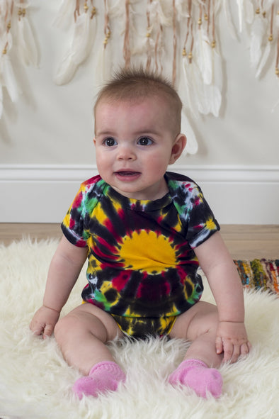 Rasta Burst Short Sleeve Baby One Piece