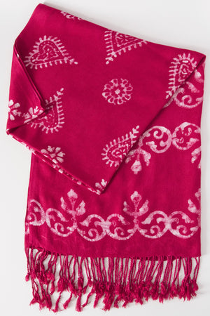 Batik Henna Print Shawl - Mexicali Blues
