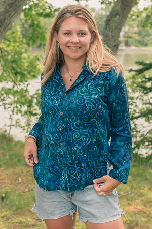 Batik Button-Up Camp Shirt