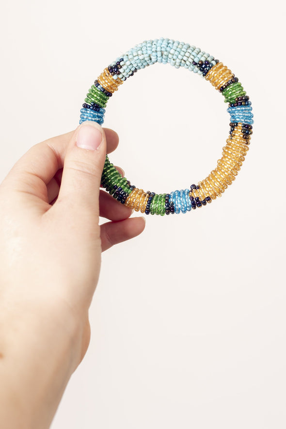 Beaded Rope Bangle Bracelet