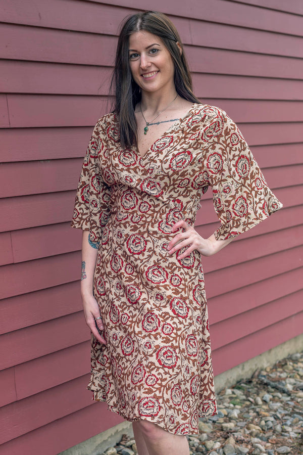 Block Print Rubi Wrap Dress