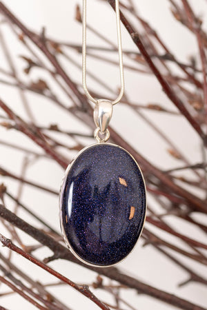 Blue Goldstone Oval Pendant
