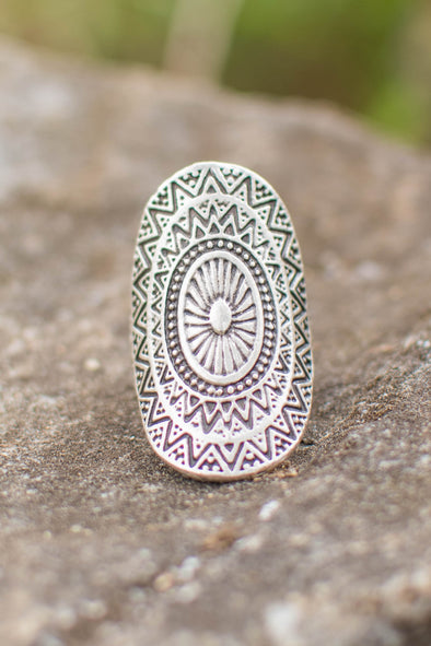Celestial Mandala Adjustable Zamak Ring