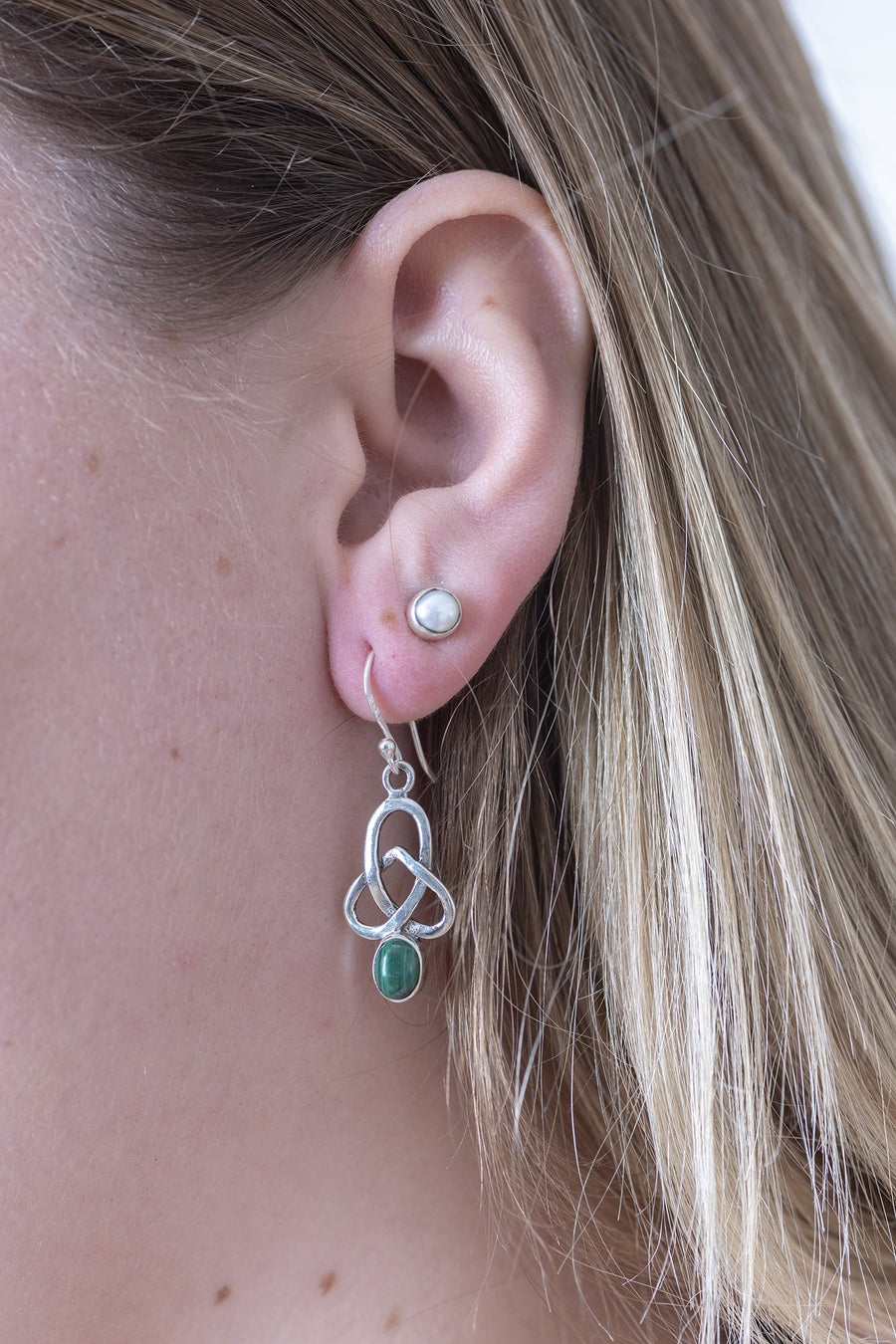 Celtic Knot Gemstone Earrings - Mexicali Blues