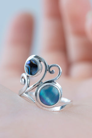 Double Swirl Abalone Ring