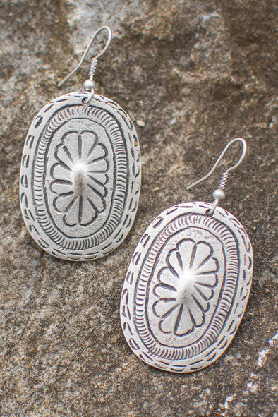 Etched Floral Zamak Shield Earrings